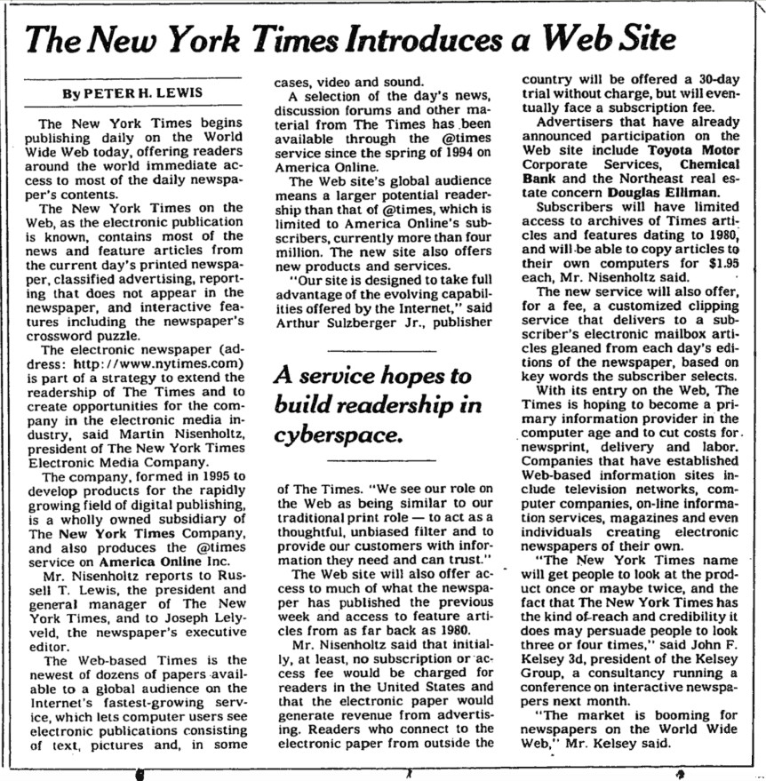 nytimes website launch news